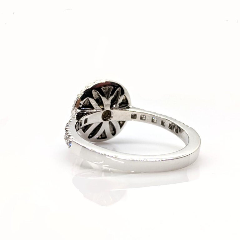 Kian Design Champagne, Cognac and white Diamond Halo Engagement Ring For Sale 3