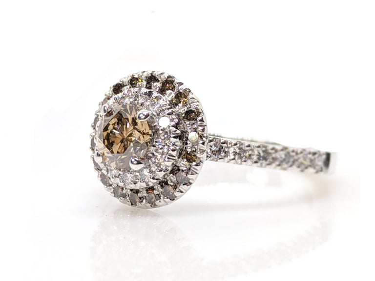 Women's Kian Design Champagne, Cognac and white Diamond Halo Engagement Ring For Sale