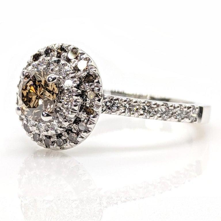 Art Deco Kian Design Champagne, Cognac and white Diamond Halo Engagement Ring For Sale