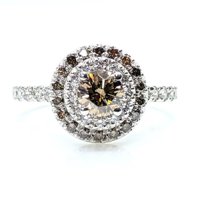 Round Cut Kian Design Champagne, Cognac and white Diamond Halo Engagement Ring For Sale
