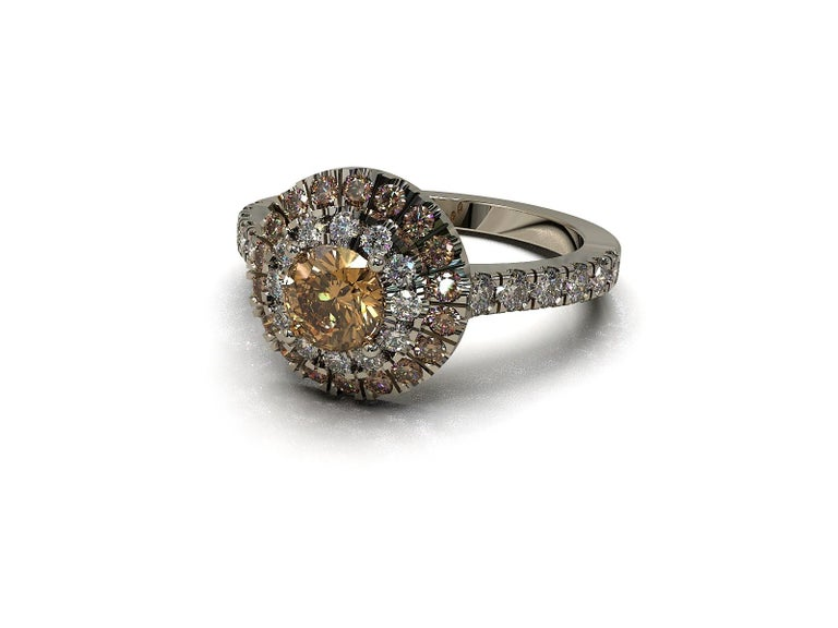 Kian Design Champagne, Cognac and white Diamond Halo Engagement Ring In New Condition For Sale In South Perth, AU