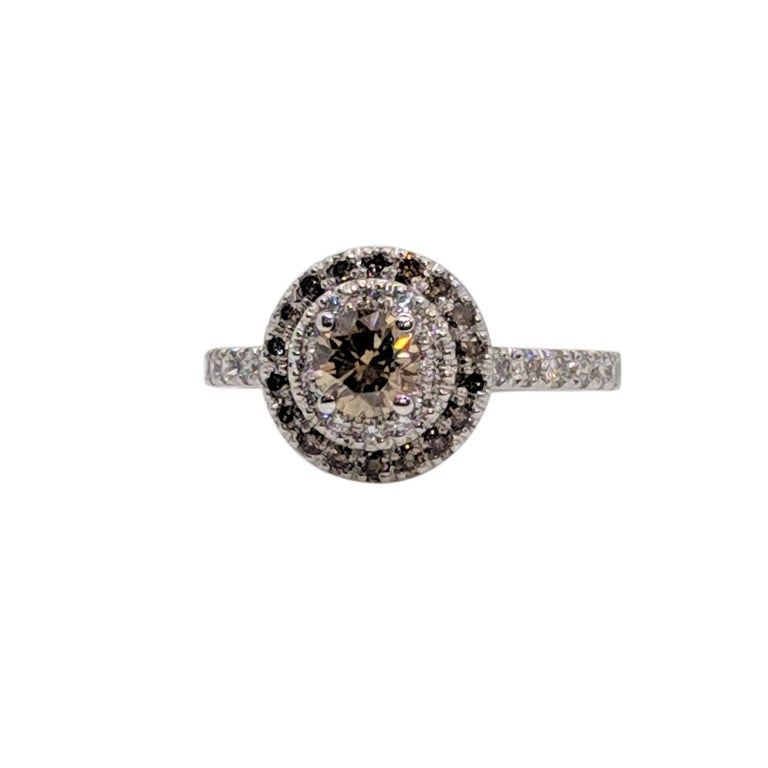 Kian Design Champagne, Cognac and white Diamond Halo Engagement Ring For Sale 2