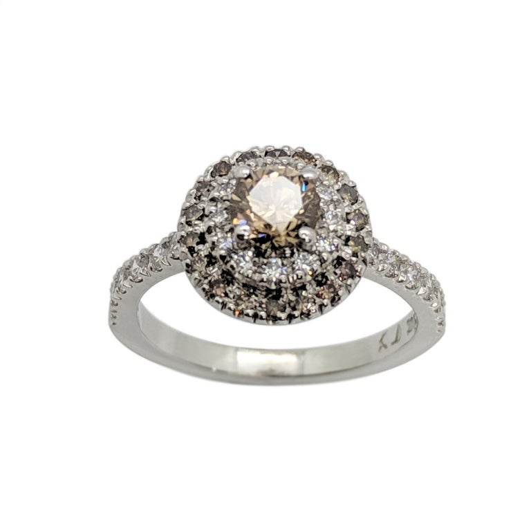 Kian Design Champagne, Cognac and white Diamond Halo Engagement Ring For Sale 5