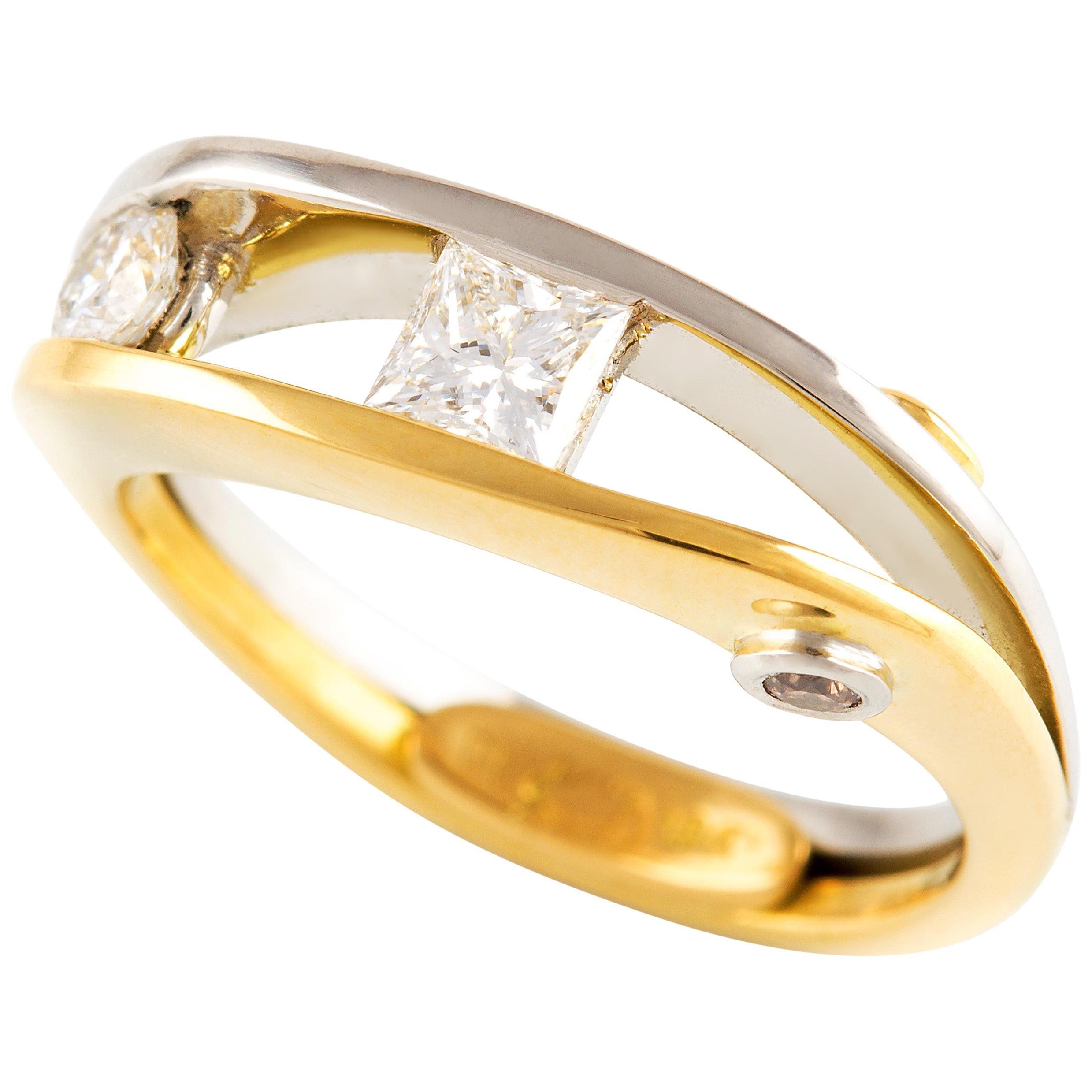 Kian Design Diamond Engagement Ring in Platinum and 18 Carat Yellow Gold
