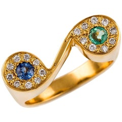 Kian Design Emerald, Sapphire and Diamond Cocktail Ring in 18 Carat Yellow Gold