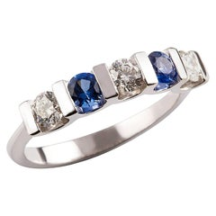 Kian Design Five-Stones Ceylon Sapphire & Diamond Bridal Ring in 18k White Gold