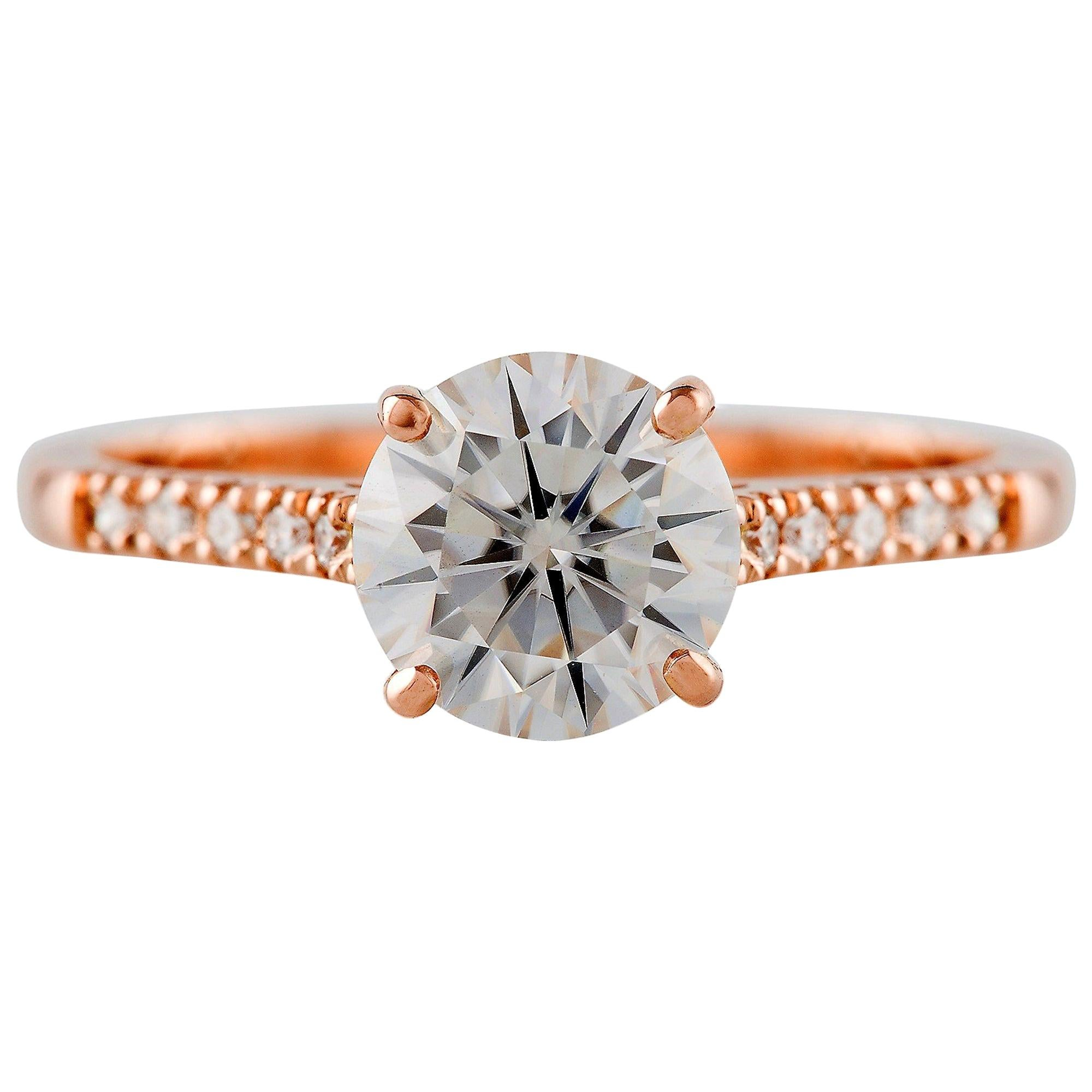 Kian Design GIA Certified 1.5 Carat Round Diamond Engagement Ring in Rose Gold