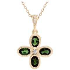 Kian Design Green Tourmaline and Diamond Cross Necklace in 18 Carat Yellow Gold