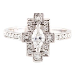 Kian Design Marquise, Princess Cut and Round Diamond Ring 18 Carat Gold