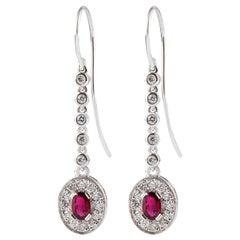 Kian Design Oval Ruby Diamond Dangle Earrings in 18 Carat White Gold