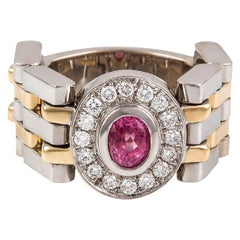 Kian Design Padparadascha Sapphire and Diamond Engagement Ring 18 Carat Gold