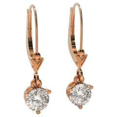 Kian Design Pink Gold 1.00 Carat Round Brilliant Cut Diamond Drop Earrings