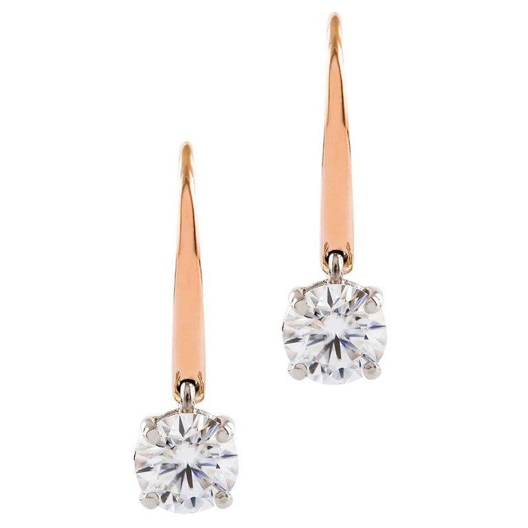 Kian Design Platinum &  Rose Gold Diamond Dangle Earrings