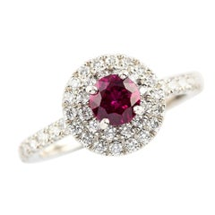 Kian Design Platinum 0.68 Carat Round Ruby Diamond Cluster Engagement Ring