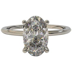 Kian Design Platinum 1.00 Carat Oval Cut Diamond Solitaire Engagement Ring