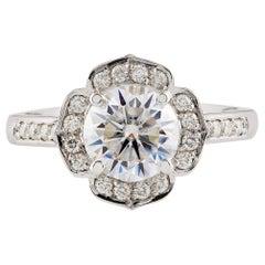 Kian Design Platinum Art Deco Total 1.75 Carat Round Diamond Engagement Ring