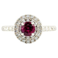 Kian Design Platinum Round Ruby and Diamond Engagement Ring