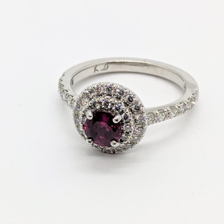 Kian Design Platinum 0.68 Carat Round Ruby Diamond Double Halo Engagement Ring In New Condition For Sale In South Perth, AU
