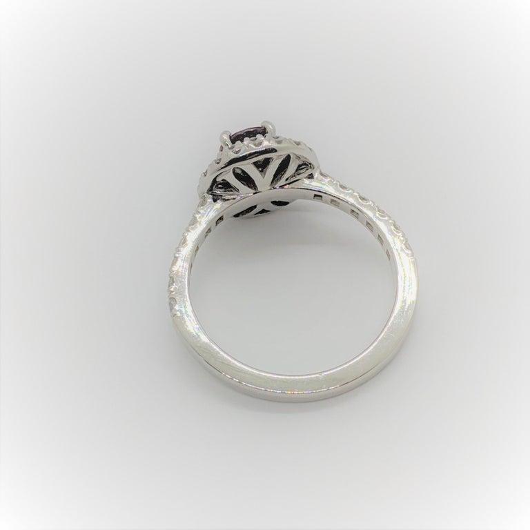 Women's Kian Design Platinum 0.68 Carat Round Ruby Diamond Double Halo Engagement Ring For Sale