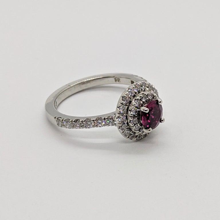 Kian Design Platinum 0.68 Carat Round Ruby Diamond Double Halo Engagement Ring For Sale 1