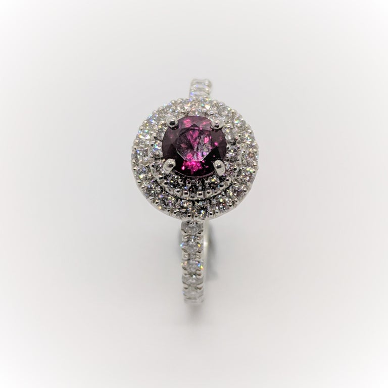 Kian Design Platinum 0.68 Carat Round Ruby Diamond Double Halo Engagement Ring For Sale 2