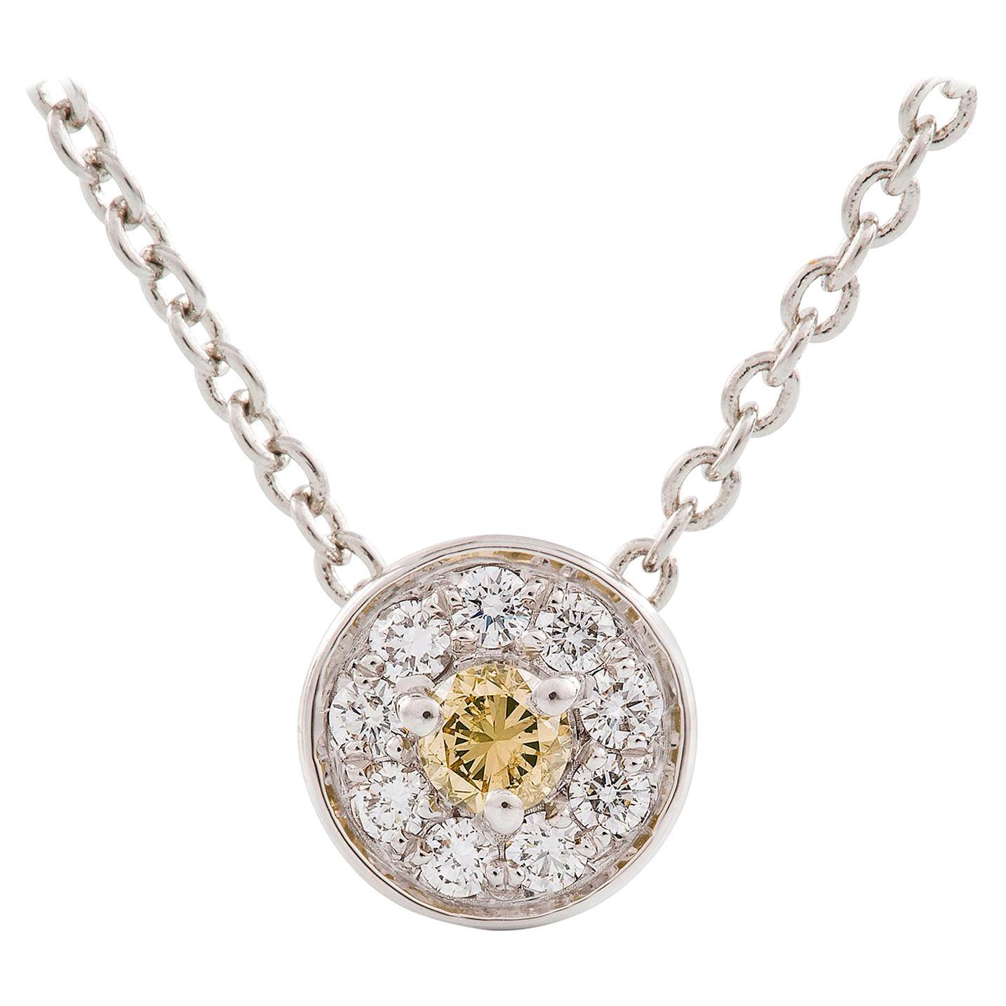 Kian Design Round Brilliant Cut Cluster Diamond Necklace in 18 Carat White Gold