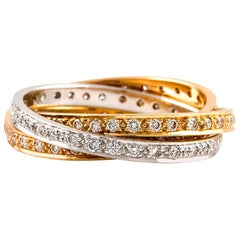 Kian Design Russian Style Diamond Bridal Ring in 18 Carat Three-Tone Gold