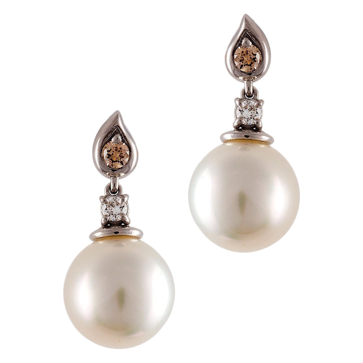Kian Design South Sea Pearl and Diamond Drop Earrings in 18 Carat White Gold