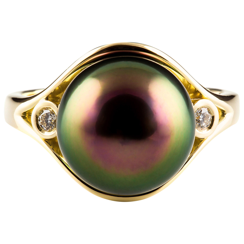 Kian Design Tahitian Pearl and Diamond Cocktail Ring in 18 Carat Yellow Gold