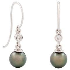 Kian Design Tahitian Pearl and Diamond Drop Earrings in 18 Carat White Gold