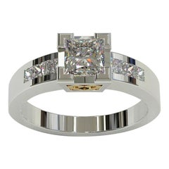 Kian Design Total 1.41 Carat Princess Cut Diamond Two-Tone Gold Ring