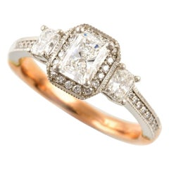Kian Design Vintage Platinum and Rose Gold GIA Certified Diamond Ring