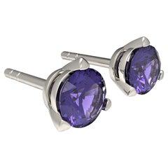 Kian Design White Gold 0.37 Carat Round Ceylon Sapphire Earring Studs