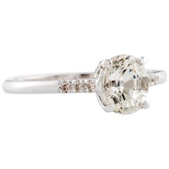 Kian Design White Gold 1.54 Carat Oval White Sapphire and Diamond Ring