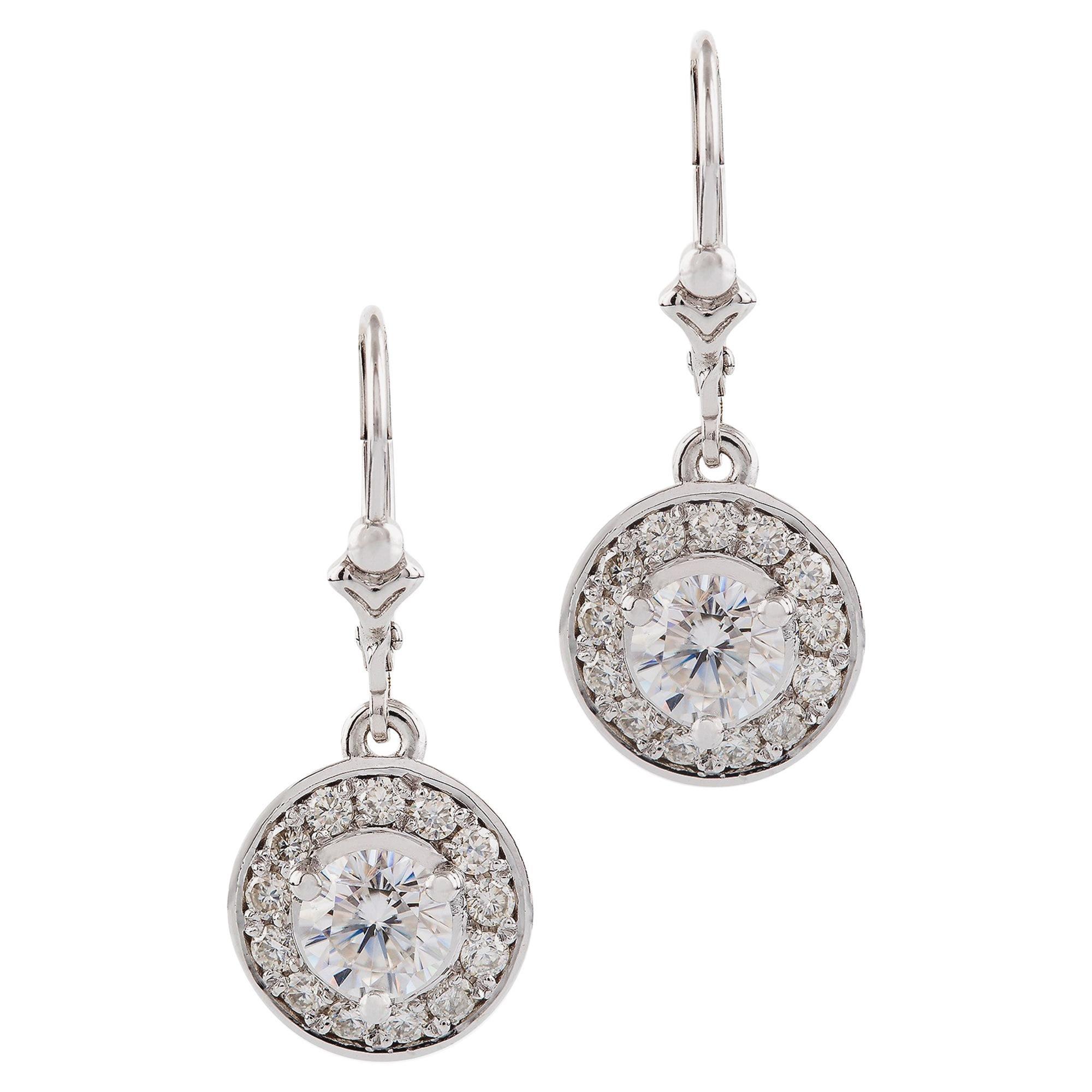 Kian Design White Gold 1.6 Carat Round Brilliant Cut Diamond Halo Drop Earrings