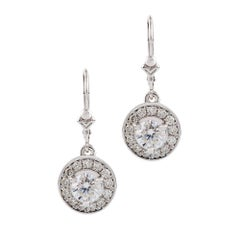 Kian Design White Gold 1.6 Carat Round Brilliant Cut Diamond  Halo Drop Earrings