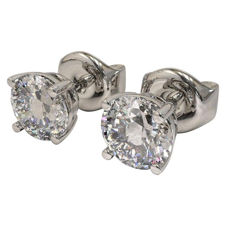 Kian Design White Gold 2 Carat Round Brilliant Cut Diamond Earring Studs For Sale