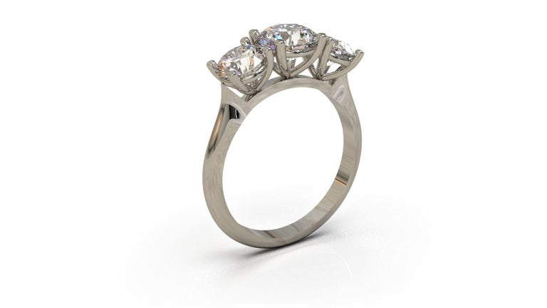 Art Deco Kian Design White Gold 2.00 Carat Three Stones Round Brilliant Trilogy Ring For Sale