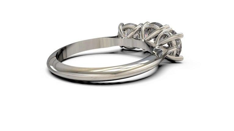 Women's Kian Design White Gold 2.00 Carat Three Stones Round Brilliant Trilogy Ring For Sale