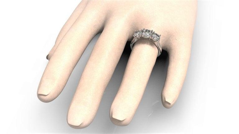 Kian Design White Gold 2.00 Carat Three Stones Round Brilliant Trilogy Ring For Sale 1
