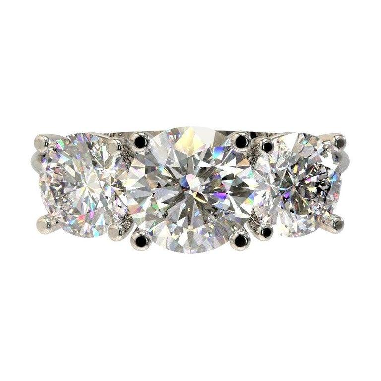 Kian Design White Gold 2.00 Carat Three Stones Round Brilliant Trilogy Ring For Sale