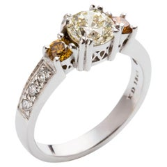 Kian Design White Gold Fancy Yellow and Certified White Diamond Engagement Ring
