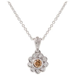 Kian Design White Gold Halo Champagne and White Diamond Necklace