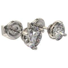 Kian Design White Gold One Carat GIA Round Brilliant Cut Diamond Earring Studs