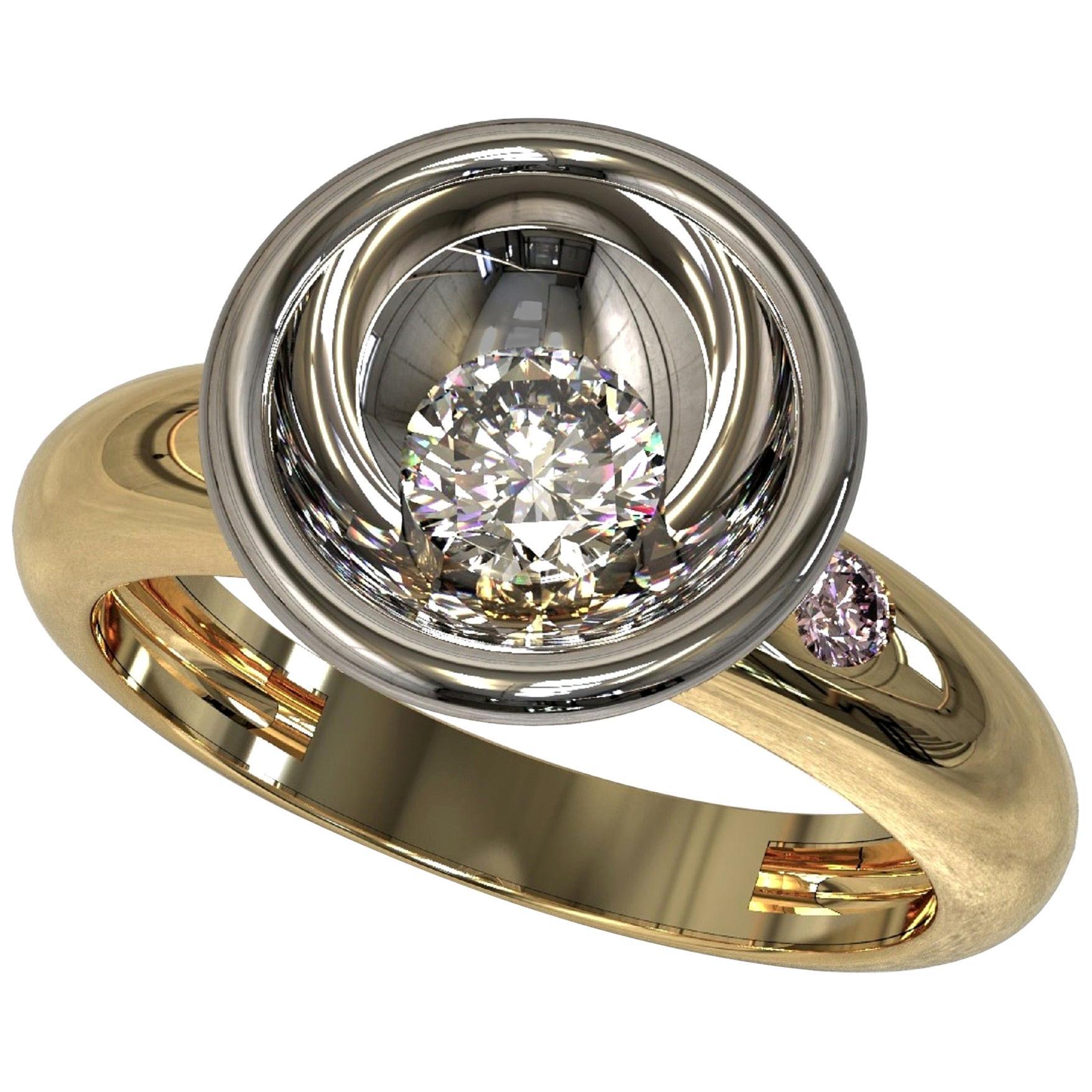Kian Design White and Pink Diamond Engagement Ring Platinum 18 Carat Yellow Gold