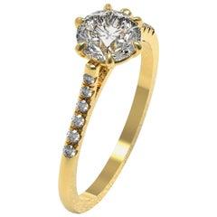 Kian Design Yellow Gold 1.48 Carat Old European Cut Moissanite Ring