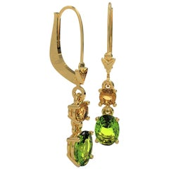 Kian Design Yellow Gold 2.83 Carat Oval Peridot and Citrine Drop Earrings
