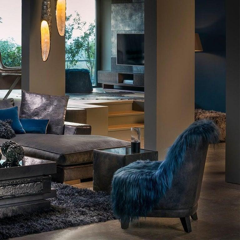European Kidassia Goat Fur Lounge Chair in Petrol Blue Tone For Sale