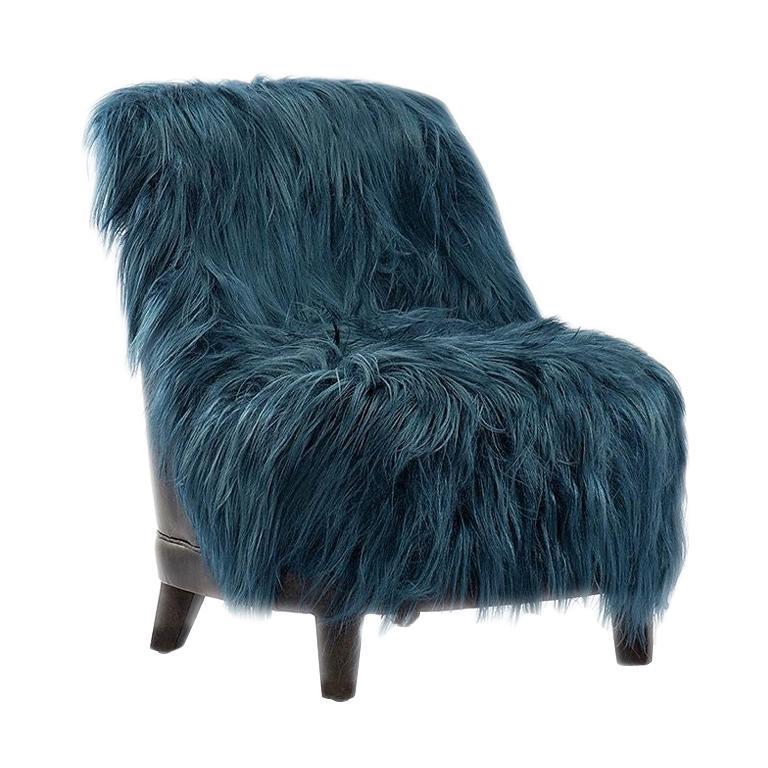Kidassia Goat Fur Lounge Chair in Petrol Blue Tone For Sale