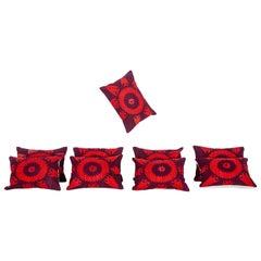 Kidney Pillows Fashioned from an Early 20th Century Silk Samarkand Suzani